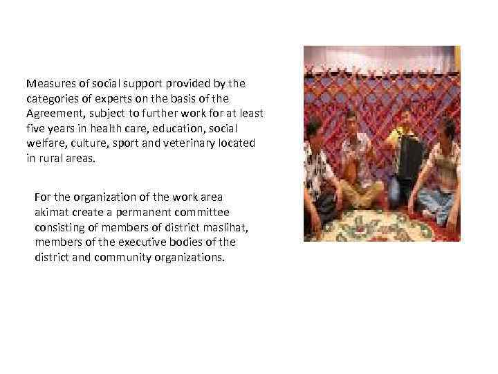 Measures of social support provided by the categories of experts on the basis of