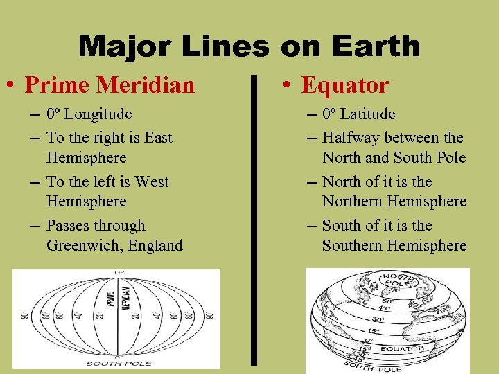 Major Lines on Earth • Prime Meridian – 0º Longitude – To the right