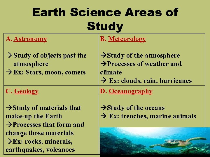 Earth Science Areas of Study A. Astronomy B. Meteorology Study of objects past the