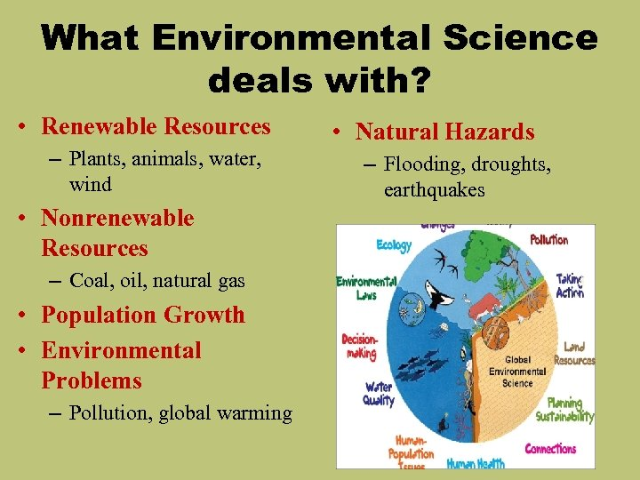 What Environmental Science deals with? • Renewable Resources – Plants, animals, water, wind •
