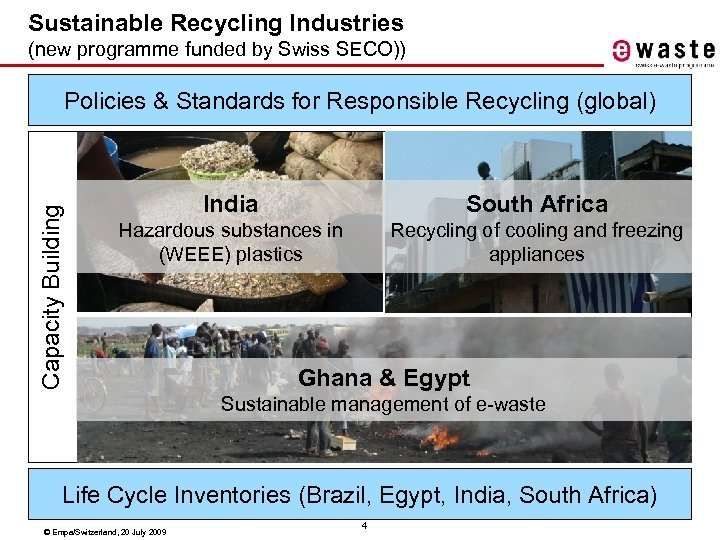 Sustainable Recycling Industries (new programme funded by Swiss SECO)) Capacity Building Policies & Standards
