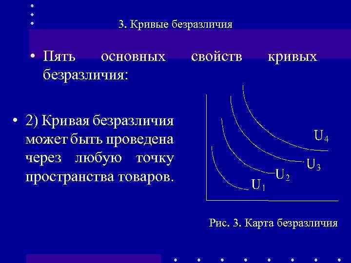 3. Кривые безразличия • Пять основных безразличия: свойств кривых • 2) Кривая безразличия может