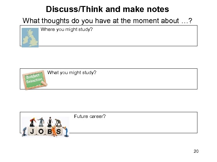Discuss/Think and make notes What thoughts do you have at the moment about …?