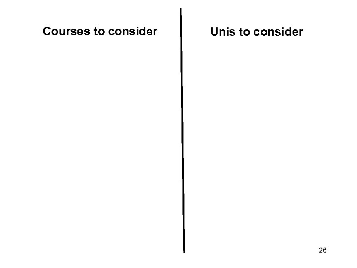 Courses to consider • . Unis to consider • . 26