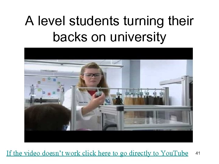 A level students turning their backs on university If the video doesn't work click