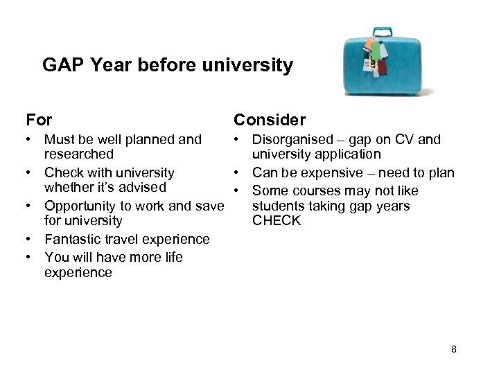 GAP Year before university For Consider • Must be well planned and • Disorganised