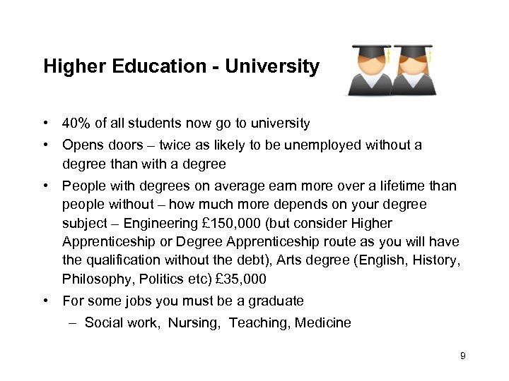 Higher Education - University • 40% of all students now go to university •