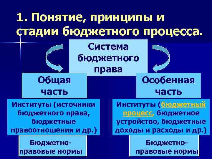 1. Понятие, принципы и стадии бюджетного процесса. Общая часть Система бюджетного права Институты (источники