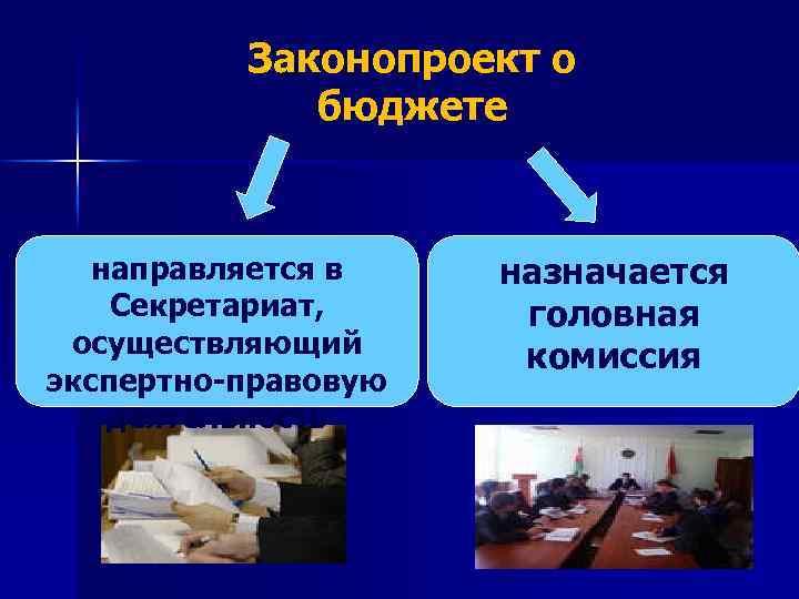 Законопроект о бюджете направляется в Секретариат, осуществляющий экспертно-правовую деятельность назначается головная комиссия