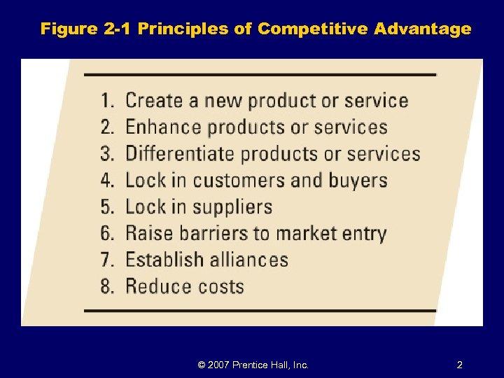 Figure 2 -1 Principles of Competitive Advantage © 2007 Prentice Hall, Inc. 2