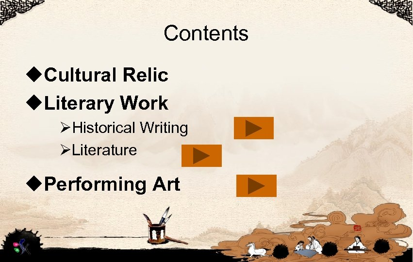 Contents u. Cultural Relic u. Literary Work ØHistorical Writing ØLiterature u. Performing Art