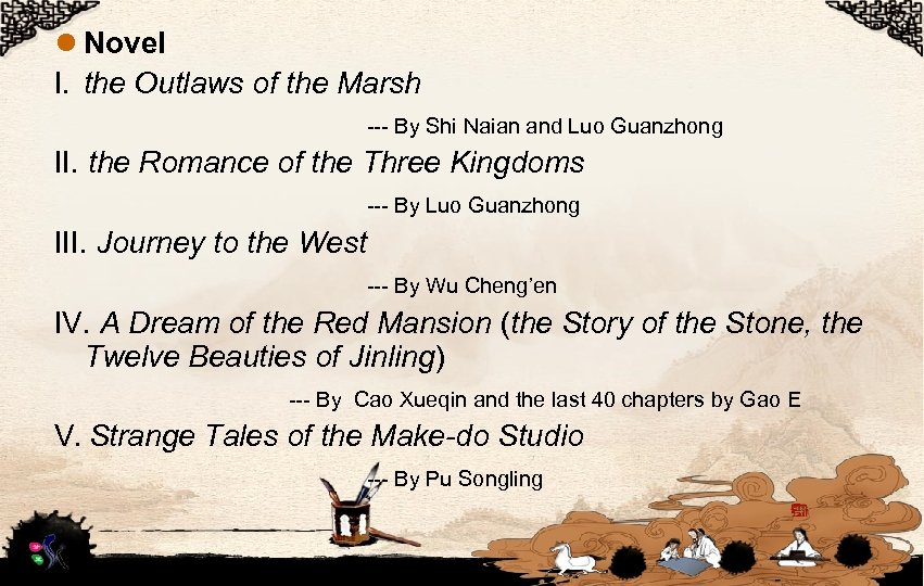 l Novel I. the Outlaws of the Marsh --- By Shi Naian and Luo