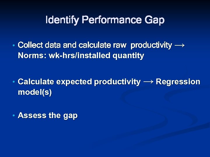 Identify Performance Gap • Collect data and calculate raw productivity → Norms: wk-hrs/installed quantity