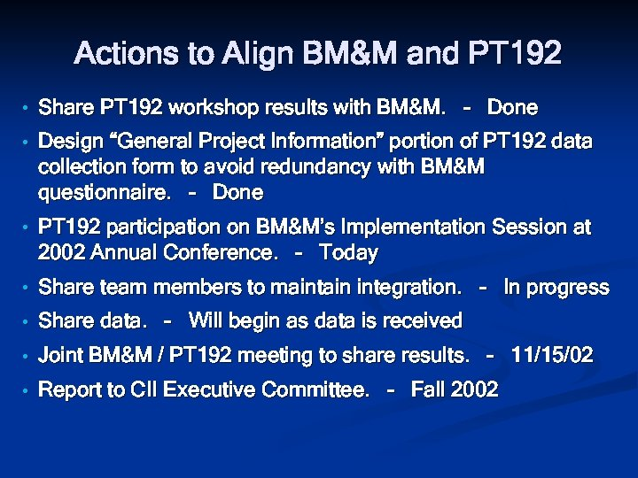 Actions to Align BM&M and PT 192 • Share PT 192 workshop results with