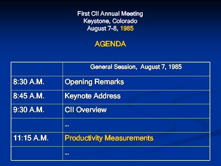 First CII Annual Meeting Keystone, Colorado August 7 -8, 1985 AGENDA General Session, August