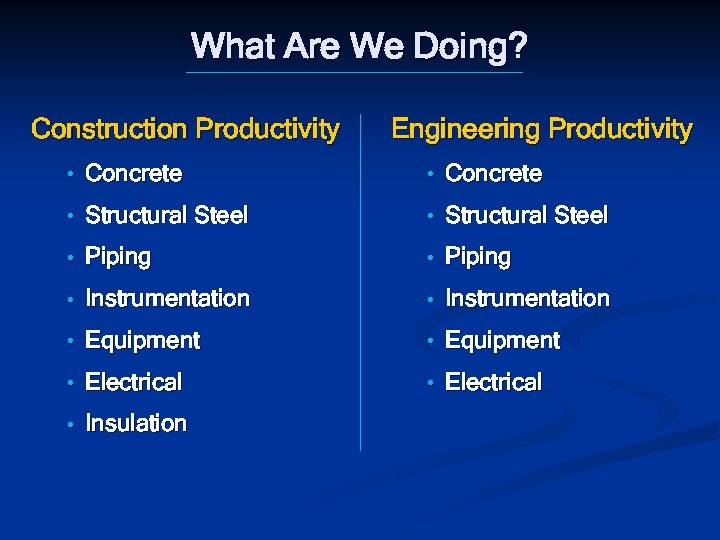 What Are We Doing? Construction Productivity Engineering Productivity • Concrete • Structural Steel •