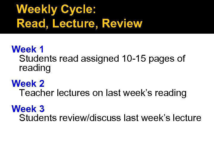 Weekly Cycle: Read, Lecture, Review Week 1 Students read assigned 10 -15 pages of