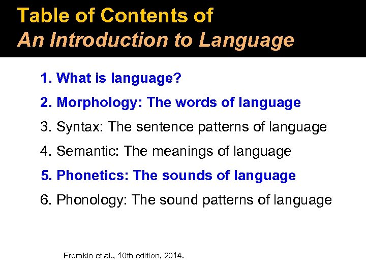 Table of Contents of An Introduction to Language 1. What is language? 2. Morphology:
