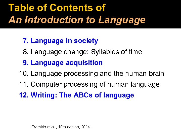 Table of Contents of An Introduction to Language 7. Language in society 8. Language