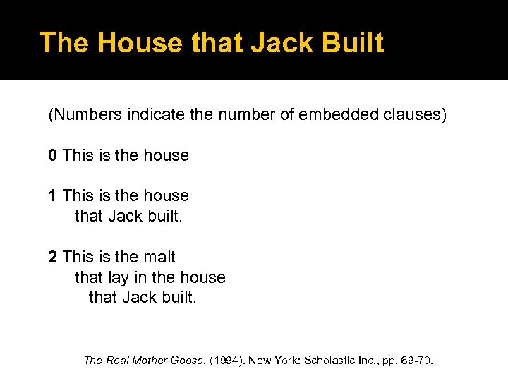 The House that Jack Built (Numbers indicate the number of embedded clauses) 0 This