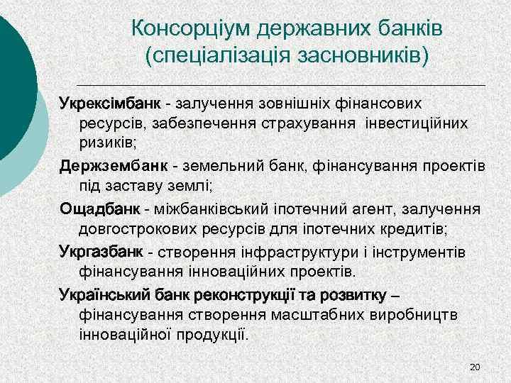 Консорціум державних банків (спеціалізація засновників) Укрексімбанк - залучення зовнішніх фінансових ресурсів, забезпечення страхування інвестиційних