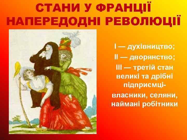СТАНИ У ФРАНЦІЇ НАПЕРЕДОДНІ РЕВОЛЮЦІЇ I — духівництво; II — дворянство; III — третій