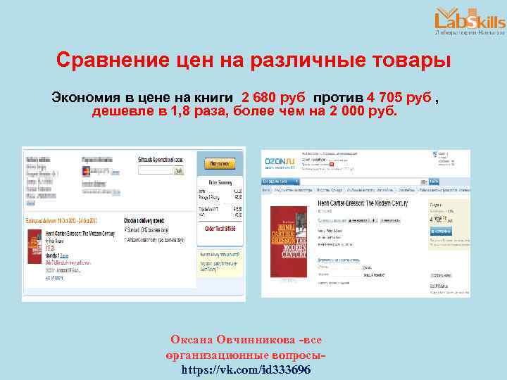 Сравнение цен на различные товары Экономия в цене на книги 2 680 руб против