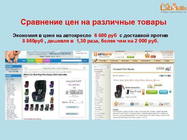 Сравнение цен на различные товары Экономия в цене на автокресло 6 800 руб с