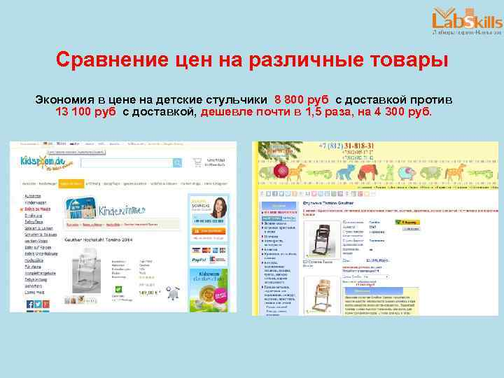 Сравнение цен на различные товары Экономия в цене на детские стульчики 8 800 руб