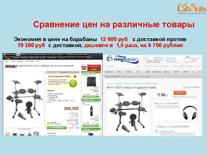 Сравнение цен на различные товары Экономия в цене на барабаны 12 600 руб с