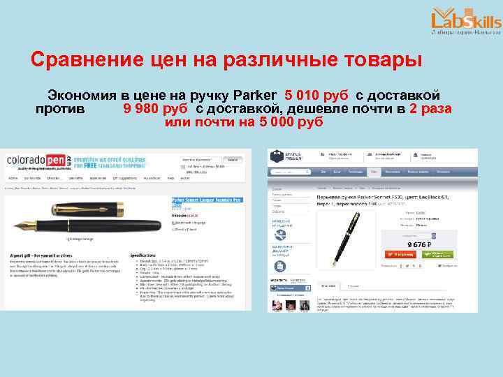 Сравнение цен на различные товары Экономия в цене на ручку Parker 5 010 руб
