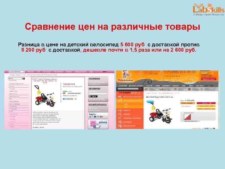 Сравнение цен на различные товары Разница в цене на детский велосипед 5 600 руб