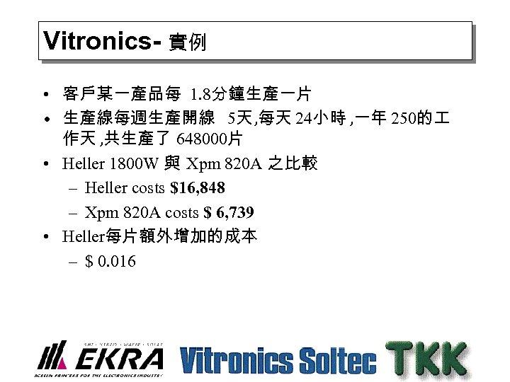Vitronics- 實例 • 客戶某一產品每 1. 8分鐘生產一片 • 生產線每週生產開線 5天 , 每天 24小時 , 一年