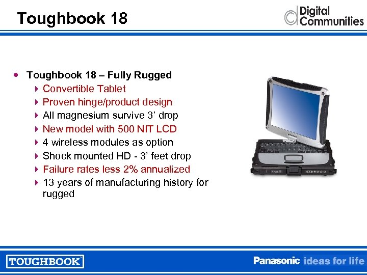 Toughbook 18 – Fully Rugged 4 Convertible Tablet 4 Proven hinge/product design 4 All