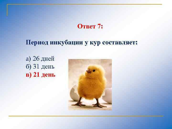 Ответ 7: Период инкубации у кур составляет: а) 26 дней б) 31 день в)