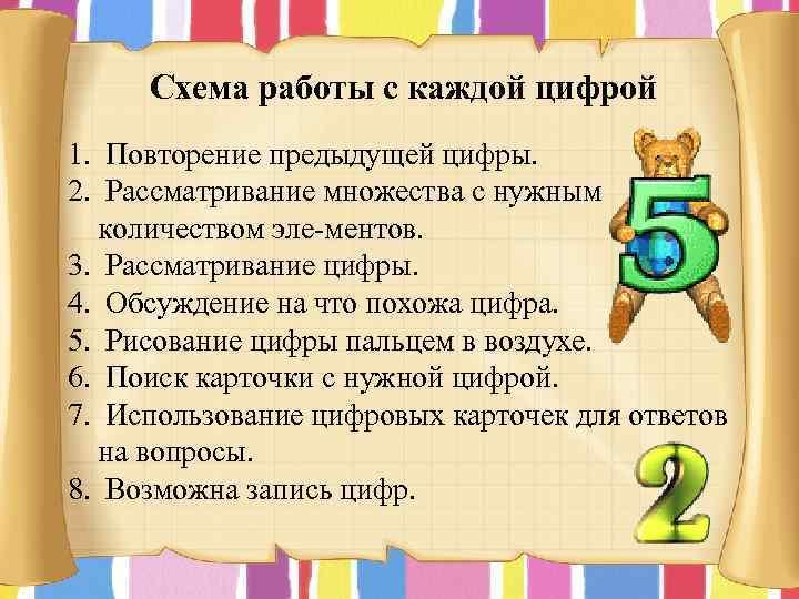 Схема работы с каждой цифрой 1. Повторение предыдущей цифры. 2. Рассматривание множества с нужным