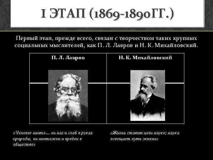 I ЭТАП (1869 -1890 ГГ. ) Первый этап, прежде всего, связан с творчеством таких