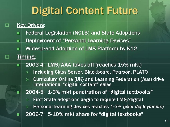 Digital Content Future o Key Drivers: n Federal Legislation (NCLB) and State Adoptions n