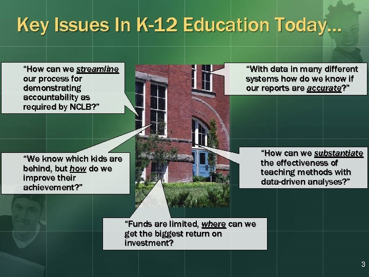 "Key Issues In K-12 Education Today… ""How can we streamline our process for demonstrating"