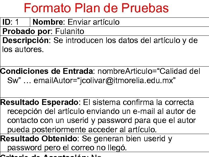 Formato Plan de Pruebas ID: 1 Nombre: Enviar artículo Probado por: Fulanito Descripción: Se