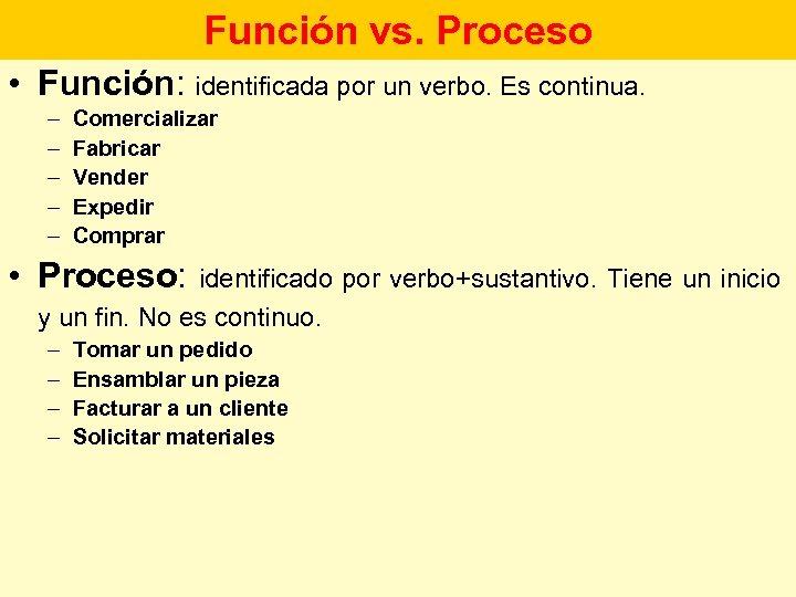 Función vs. Proceso • Función: identificada por un verbo. Es continua. – – –