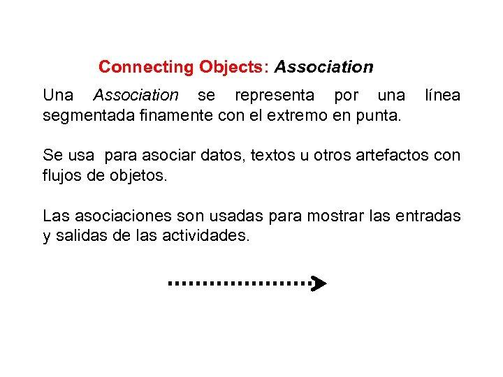 Connecting Objects: Association Una Association se representa por una segmentada finamente con el extremo