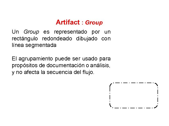 Artifact : Group Un Group es representado por un rectángulo redondeado dibujado con línea