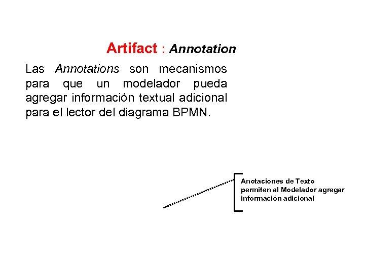 Artifact : Annotation Las Annotations son mecanismos para que un modelador pueda agregar información