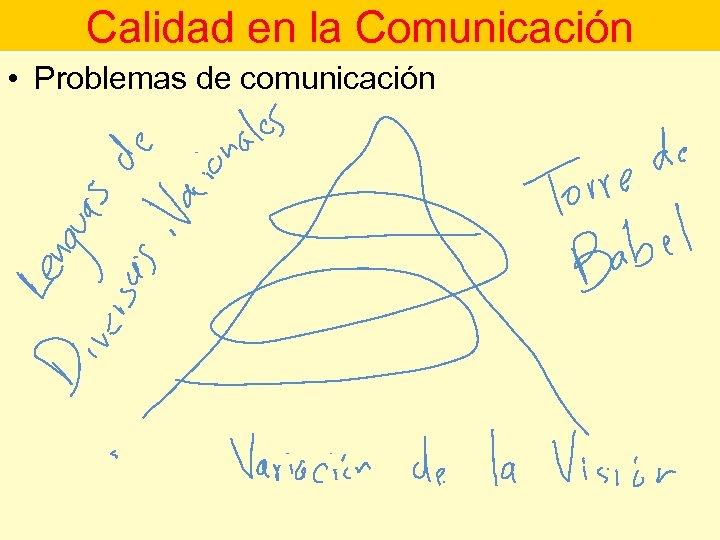 Calidad en la Comunicación • Problemas de comunicación