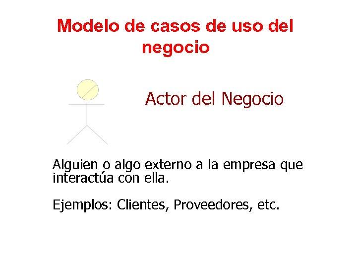 Modelo de casos de uso del negocio Actor del Negocio Alguien o algo externo
