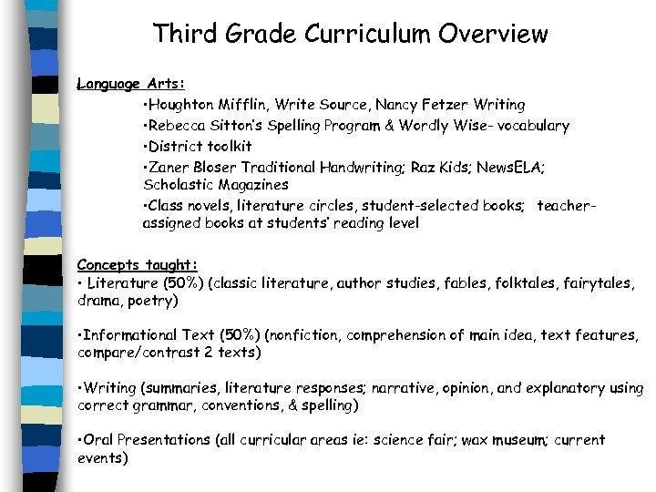 Third Grade Curriculum Overview Language Arts: • Houghton Mifflin, Write Source, Nancy Fetzer Writing