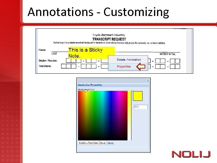 Annotations - Customizing