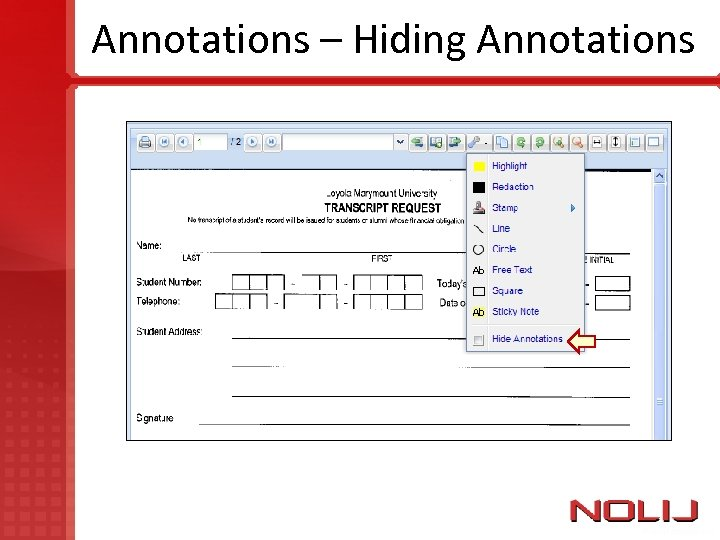Annotations – Hiding Annotations