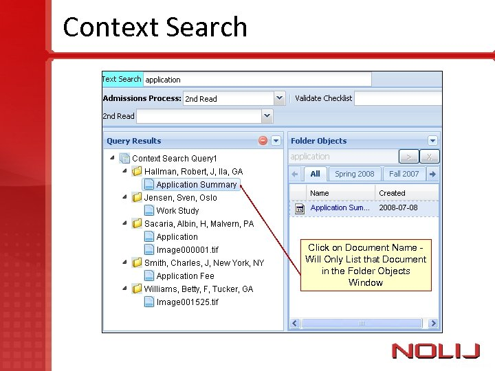 Context Search Click on Document Name Will Only List that Document in the Folder